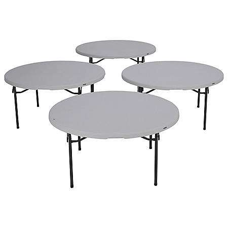 "Lifetime 60"" Round Commercial Grade Folding Table, 4 Pack, Choose a Color"