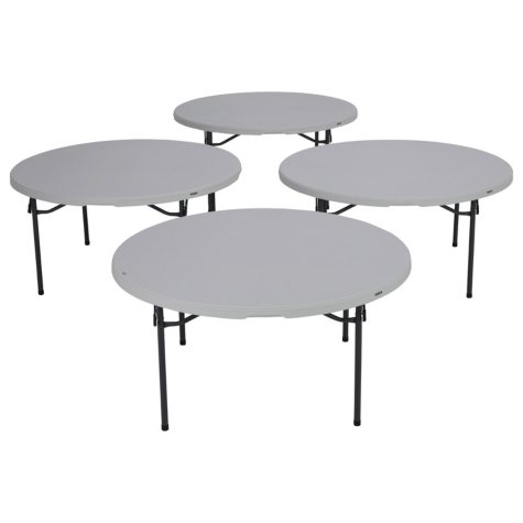 """Lifetime 60"""" Round Commercial Grade Folding Table, 4 Pack, Choose a Color"""