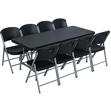 Lifetime Combo - 6' Commercial Grade Folding Table and (8) Folding Chairs, Black