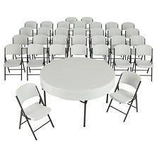 "Lifetime Combo-Four 60"" Round Commercial Grade Folding Tables and 32 Folding Chairs, Select Color"