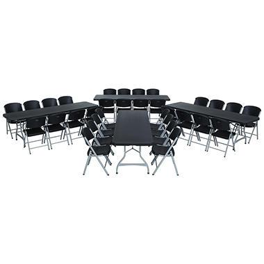 lifetime combofour 8u0027 commercial grade folding tables and 32 folding chairs black