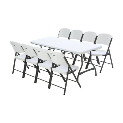 Lifetime Combo - Banquet 6' Commercial Table and (8) Folding Chairs, White Granite