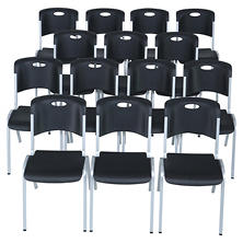 Lifetime Contoured Stacking Chair, Black (Select Quantity)