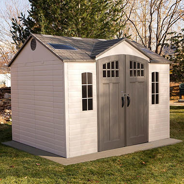 lifetime 10 x 8 outdoor storage shed with carriage doors