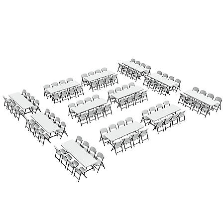 Lifetime Super Combo - (12) 8' Commercial Grade Folding Tables and (96) Folding Chairs, White Granite