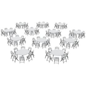 Lifetime Super Combo 12 60 Round Commercial Grade Folding Tables And