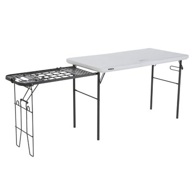 Bon Lifetime 4 Foot Tailgate Table With Wire Pull Out