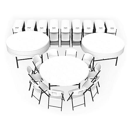 """Lifetime Super Combo - (12) 72"""" Round Commercial Grade Folding Tables and (120) Folding Chairs, White Granite"""