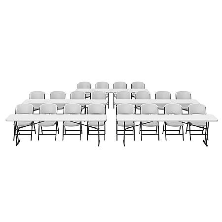 "Lifetime Combo - (5) 8' L x 18"" W Seminar Tables and (20) Folding Chairs, White"