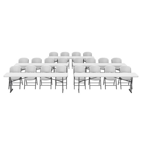 """Lifetime Combo - (5) 8' L x 18"""" W Seminar Tables and (20) Folding Chairs, White"""