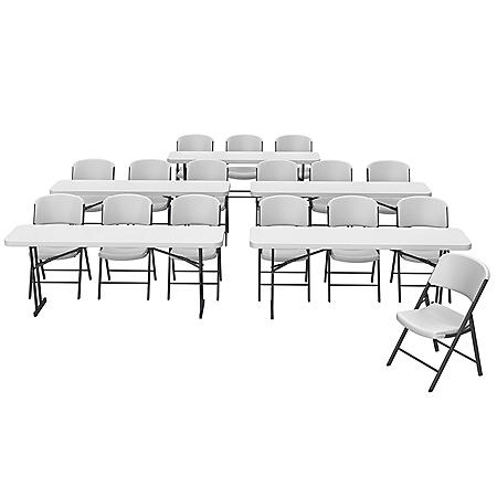 """Lifetime Combo - (5) 6' L x 18"""" W Seminar Tables and (16) Folding Chairs, White"""