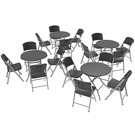"Lifetime Set of Four 33"" Round Tables and 16 Folding Chairs, 80750"