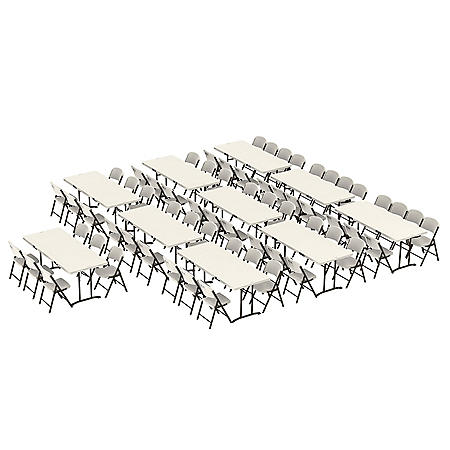 Lifetime (10) 6' Fold-In-Half Tables and (64) Chairs Combo (Commercial), 80820