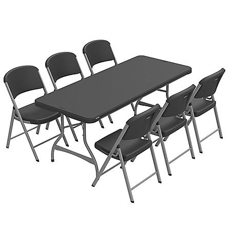 Lifetime Combo 6 Commercial Grade Folding Table And 6