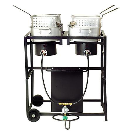 "King Kooker, Model #KKDFF30T, 30"" Portable Propane Dual Burner Outdoor Cooker Cart with Two Rectangular Fry Pan & Basket Sets"