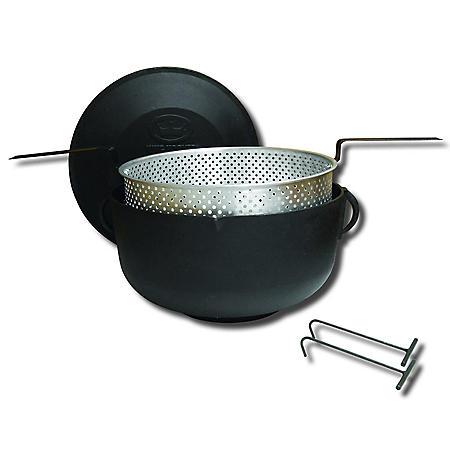 King Kooker, Model #5925, 5-Gallon Cast Iron Pot and Lid, Flat Bottom Pot, Aluminum Basket