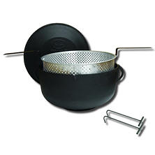 King Kooker, Model #5925, 5-Gallon Cast Iron Pot and Lid, Flat Bottom Pot, Aluminum Basket