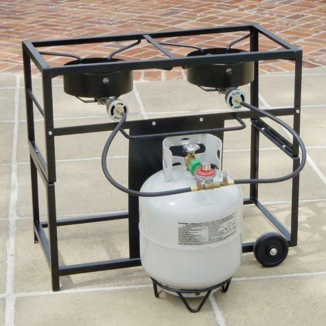 King Kooker 2 Burner Portable Propane Outdoor Frying Cart