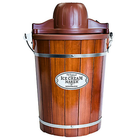 Nostalgia 6-Quart Wood Bucket Ice Cream Maker