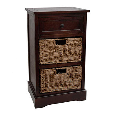 Storage Side Table with 2 Sea Grass Baskets (Assorted Colors)