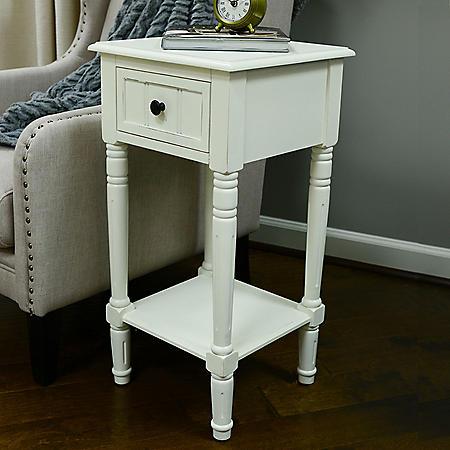 Square Accent Table, Antique White