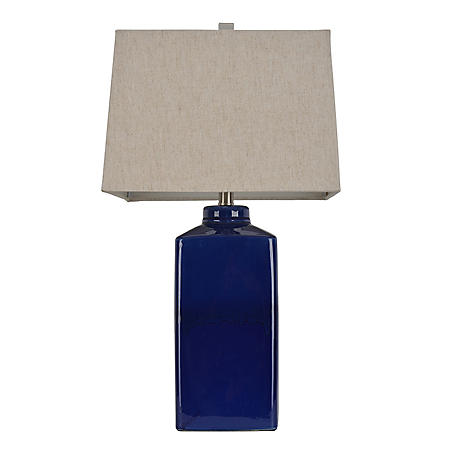 Square Ceramic Table Lamp, Rich Blue