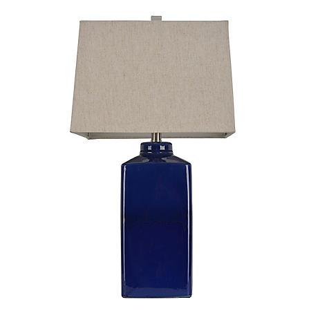 Square Ceramic Table Lamp, Rich Blue
