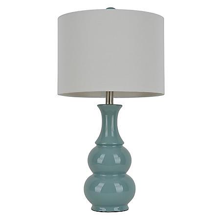 Gourd Ceramic Table Lamp, Light Blue