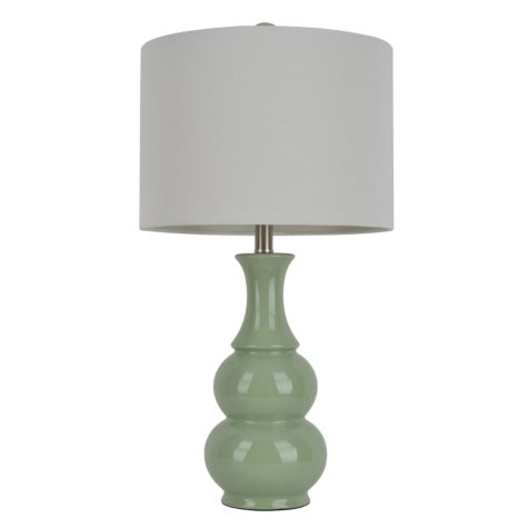 Gourd Ceramic Table Lamp, Soft Green