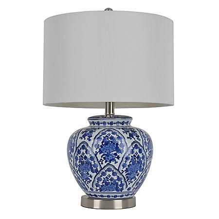 Ceramic Table Lamp, Blue and White