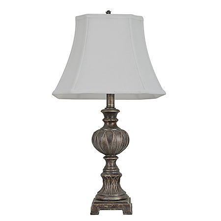 Traditional Table Lamp, Antique Silver