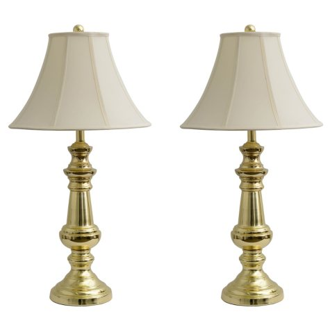 """Polished Brass 32"""" Table Lamps, Set of 2"""