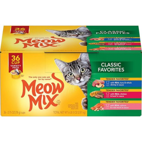 Meow Mix Classic Favorites 3 Flavor Variety Pack, Real Tuna & Whole Shrimp, Real Chicken & Beef, and Real Salmon & Crab Meat (2.75 oz., 36 ct.)