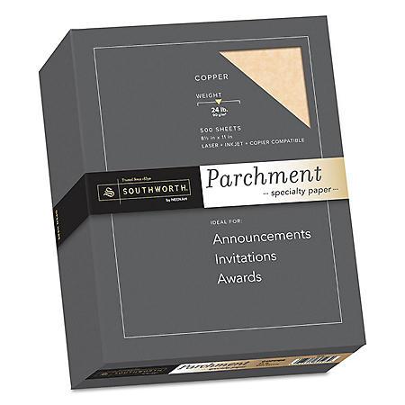 "Southworth Parchment Specialty Paper, 8.5"" x 11"", 24 lb., Copper, 500 Sheets"