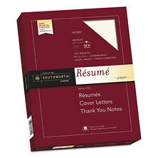 "Southworth 100% Cotton Résumé Paper, 8.5"" x 11"", 32 lb., Wove Finish, Ivory, 100 Sheets"