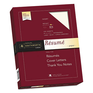 Southworth - 100% Cotton Résumé Paper, 32lb, Ivory - 100 Sheets