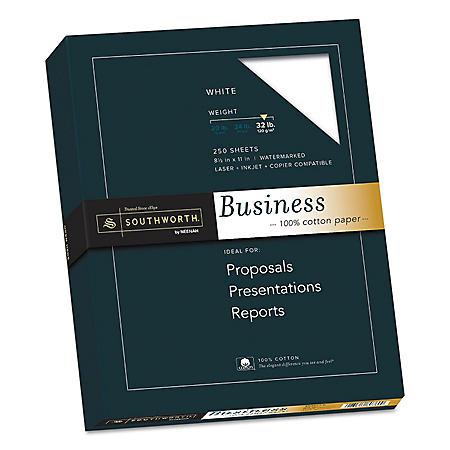 """Southworth 100% Cotton Business Paper, 8.5"""" x 11"""", 32 lb., Wove Finish, 250 Sheets, Choose a Color"""