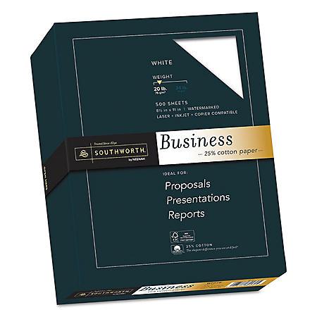 "Southworth 25% Cotton Business Paper, 8.5"" x 11"", 20 lb., Wove Finish, White, 500 Sheets"