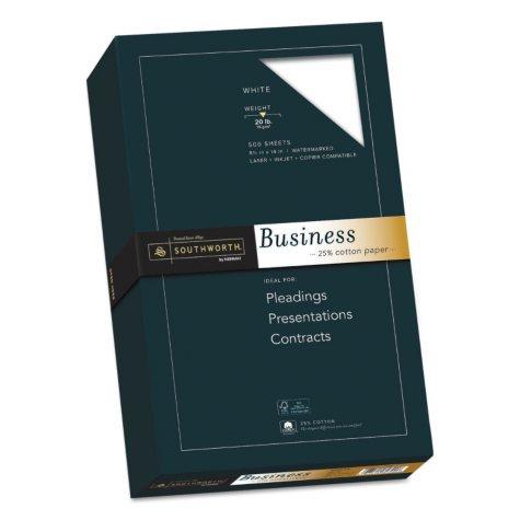 "Southworth 25% Cotton Business Paper, 8.5"" x 14"", 20 lb., Wove Finish, White, 500 Sheets"