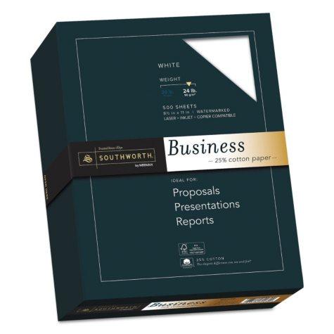 "Southworth 25% Cotton Business Paper, 8.5"" x 11"", 24 lb., Wove Finish, White, 500 Sheets"