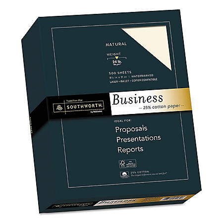 "Southworth 25% Cotton Business Paper, 8.5"" x 11"", 24 lb., Wove Finish, Ivory, 500 Sheets"