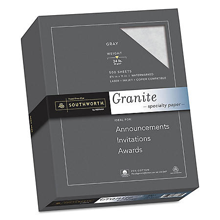 "Southworth 25% Cotton Granite Specialty Paper, 8.5"" x 11"", 24 lb., Gray, 500 Sheets"