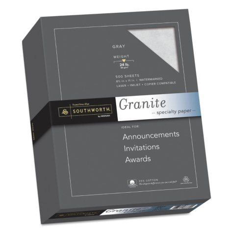 "Southworth 25% Cotton Granite Specialty Paper, 8.5"" x 11"", 24 lb., Gray, 500 Sheets"