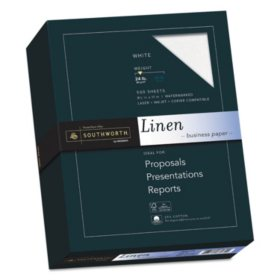 "Southworth 25% Cotton Business Paper, 8.5"" x 11"", 24 lb., Linen Finish, 500 Sheets - Ream, Choose a Color"
