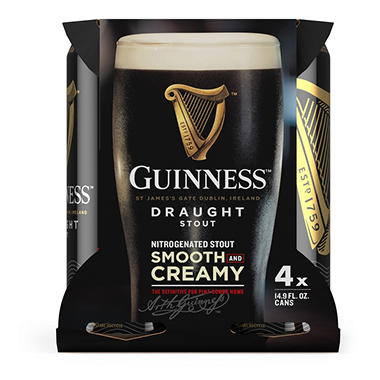 GUINNESS  DRAUGHT 4 / 15 OZ CANS
