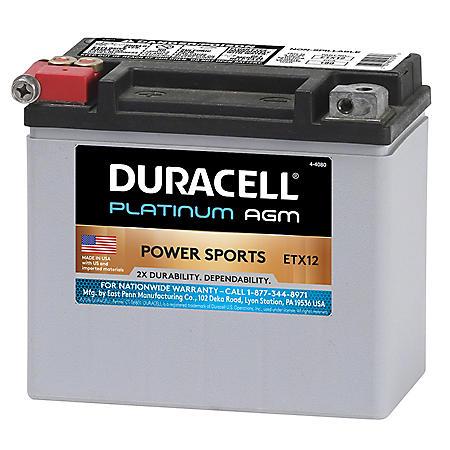 Duracell AGM Powersport Battery - ETX12