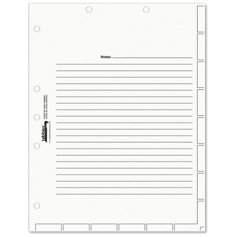 Tabbies Medical Chart Index Divider Sheets, Letter, White, 400ct.