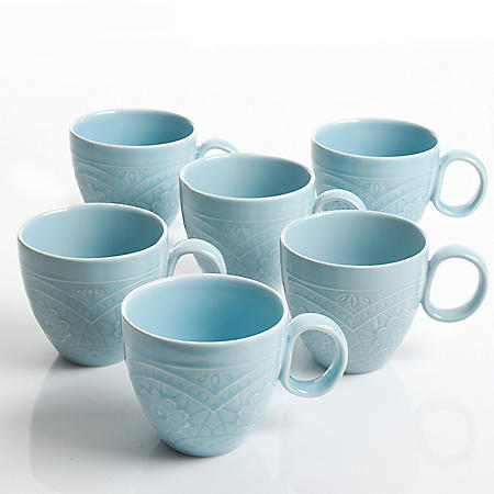 Gibson Elite 6-Piece Transparent Glaze Alemany Mug Set, 16.3 oz. (Assorted Colors)