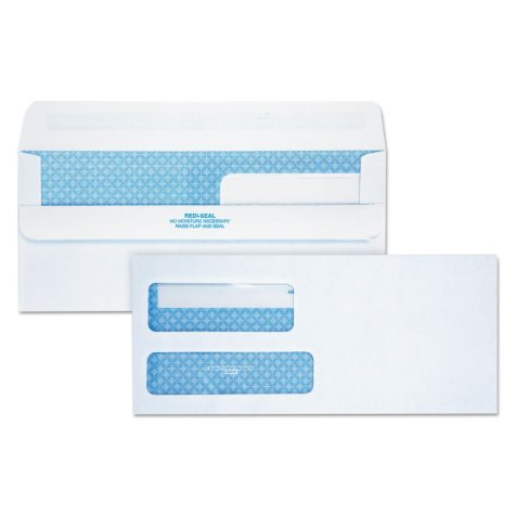 Quality Park - Redi-Seal Envelope, Security, #9, Double Window, Contemporary, White -  250/Carton