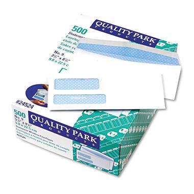Quality Park Double Window Envelopes Security Tint Gummed - 9 invoice envelopes